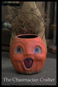 Small Reproduction Paper Mache Pumpkin