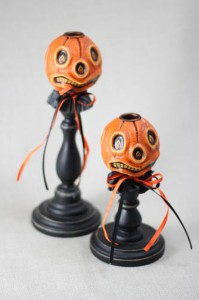 Pumpkin Head Candlesticks set of 2