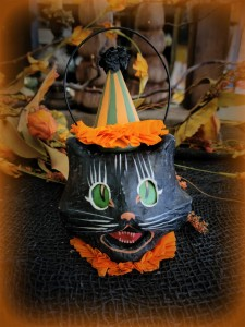 Vintage Style Paper Mache Cat Small