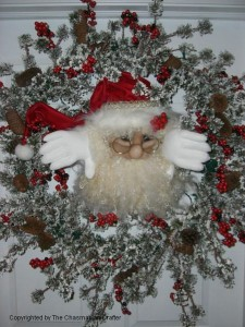 Peeking Santa Face Decoration