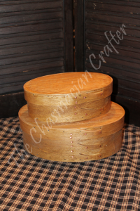 Handcrafted Oak Oval Boxes Set of Two
