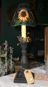 Electric Black Candlestick with  Sunflower Shade